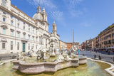 Sant'Agnese in Agone Church and the Fontana Del Moro in the Piazza Navona, Rome, Lazio Photographic Print by Neale Clark