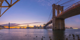 Brooklyn Bridge and Manhattan Bridge Beyond, over East River, New York Photographic Print by Alan Copson