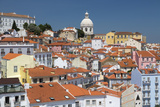 Terracotta Roofs and Ancient Dome Seen from Miradouro Alfama One of Many Viewpoints of Lisbon Photographic Print by Roberto Moiola