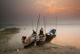 Fisherman Prepare to Set Out, Irrawaddy River, Myanmar (Burma), Asia Photographic Print by Colin Brynn