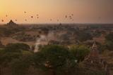 Hot Air Balloons at Sunrise Above Bagan (Pagan), Myanmar (Burma), Asia Photographic Print by Colin Brynn