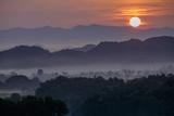 Stupas (Zedis) in the Morning Mist, Mrauk U, Rakhaing State, Myanmar (Burma), Asia Photographic Print by Nathalie Cuvelier