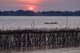 Bamboo Bridge of Koh Paeng Island on the Island River, Kompong Cham (Kampong Cham), Cambodia Photographic Print by Nathalie Cuvelier