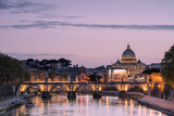 Dusk Lights on Tiber River with Bridge Umberto I and Basilica Di San Pietro in the Background, Rome Photographic Print by Roberto Moiola