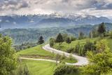 Rural Countryside and Carpathian Mountains Near Bran Castle at Pestera, Transylvania, Romania Fotografisk trykk av Matthew Williams-Ellis