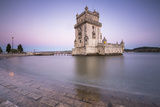 Colorful Dusk on the Tower of Belem, UNESCO World Heritage Site, Reflected in Tagus River Photographic Print by Roberto Moiola