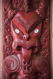 Wooden Carving at a Maori Meeting House, Waitangi Treaty Grounds, Bay of Islands Photographic Print by Matthew Williams-Ellis