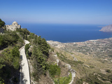 San Giovanni Church and View of Coastline from Town Walls, Erice, Sicily, Italy, Mediterranean Photographic Print by Jean Brooks