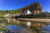 Harbour Cottages Beneath Steep Cliffs, Fishing Village, Low Tide in Summer Photographic Print by Eleanor Scriven