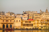 Old Building Facades, Boat in Foreground, City Palace Side, Lake Pichola, Udaipur Photographic Print by James Strachan