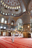 Blue Mosque Interior, UNESCO World Heritage Site, Mullah in Foreground, Istanbul, Turkey, Europe Photographic Print by James Strachan