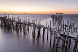 Sunset at Palafito Pier of Carrasqueira, Natural Reserve of Sado River, Alcacer Do Sal Photographic Print by Roberto Moiola