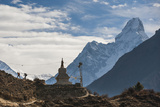 Trekkers Near a Chorten in the Everest Region with the Peak of Ama Dablam in the Distance Photographic Print by Alex Treadway