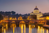 Pont Sant'Angelo and St. Peters Basilica, UNESCO World Heritage Site, Vatican City, Rome, Lazio Photographic Print by Neale Clark