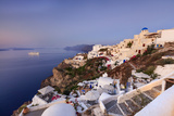 View of the Aegean Sea from the Typical Greek Village of Oia at Dusk, Santorini, Cyclades Photographic Print by Roberto Moiola