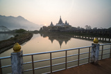 Kyauk Kalap Buddhist Temple in the Middle of a Lake at Sunrise, Hpa An, Kayin State (Karen State) Photographic Print by Matthew Williams-Ellis
