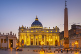 St. Peters Square and St. Peters Basilica at Night, Vatican City, UNESCO World Heritage Site Photographic Print by Neale Clark