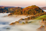 The Medieval Castle Dinas Bran Standing Above the Mist and Fog on an Autumn Morning, Denbighshire Photographic Print by Garry Ridsdale
