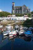 Small Port with Traditional Fishing Boats and Eglise Sainte Eugenie in Biarritz Photographic Print by Martin Child