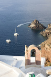 Top View of the Blue Aegean Sea from the Typical Village of Oia, Santorini, Cyclades Photographic Print by Roberto Moiola