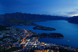 Queenstown at Dusk on the Shore of Lake Wakatipu with the Remarkables Mountain Range Beyond, Otago Photographic Print by Garry Ridsdale