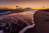 Waves Roll onto Beach as Dawn Breaks Beyond Hicacos Peninsula and Long Stretch of Beach at Varadero Photographic Print by Garry Ridsdale