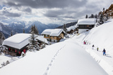 Tourists and Skiers Enjoying the Snowy Landscape, Bettmeralp, District of Raron Photographic Print by Roberto Moiola