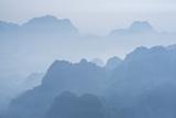Misty Limestone Karst Mountain Landscape at Sunrise, Seen from Mount Zwegabin, Hpa An Fotografisk trykk av Matthew Williams-Ellis