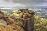 Curbar Edge, Summer Heather, View Towards Chatsworth, Peak District National Park, Derbyshire Photographic Print by Eleanor Scriven