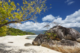 Looking Along the Deserted Beaches of Sainte Anne to the Island of Mahe Beyond, Seychelles Photographic Print by Garry Ridsdale