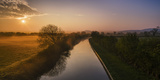 The Shropshire Union Canal Leads Through Cheshire Plain to Beeston Castle and Peckforton Photographic Print by Garry Ridsdale