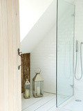 Lanterns and Shower Cubicle in Bathroom of Cottage Conversion, UK Photo by Stuart Cox