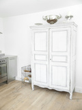 White Painted Cupboard Unit in Kitchen of Cottage Interior, UK Photo by Stuart Cox