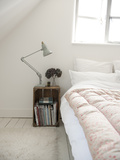 Anglepoise Lamp on Bedside, Below Window in Cottage Interior, UK Photo by Stuart Cox