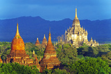 South East Asia, Myanmar, Bagan, Pagodas on Bagan Plain and Thatbyinnyu Pahto Temple Photographic Print by Christian Kober