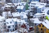 Iceland, Reykjavik. Reykjavik, Capital City of Iceland, Frozen by Winter. Fotografiskt tryck av Katie Garrod