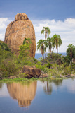 Kenya, Laikipia County, Suiyan. a Large Boulder Reflected in the Ewuaso Narok River. Photographic Print by Nigel Pavitt