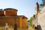 Greece, Paxos. Byzantine Church of Ipapanti Has Two Flattened Cupolas and Impressive Highbell Tower Photographic Print by John Warburton-lee