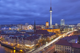 Berlin Mitte, Central Distric of Berlin with 368M Tall Tv Tower Seen from Fischerinsel at Dusk Fotografisk tryk af David Bank
