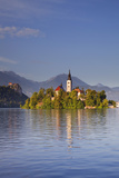 Slovenia, Julian Alps, Upper Carniola, Lake Bled. Island with Church on Lake Bled. Photographic Print by Ken Scicluna