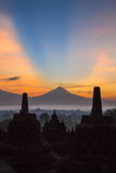 Indonesia, Java, Borobudur. Sunrise over the Active Stratovolcano Photographic Print by Nigel Pavitt
