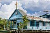 Cambodia, Tonle Sap, Siem Reap Province. a Floating Catholic Church on Lake Tonle Sap. Photographic Print by Nigel Pavitt