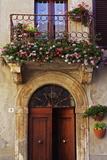 Balcony Flowers and Doorway in Pienza Tuscany Italy Photo by Julian Castle