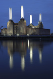 Battersea Power Station in London at Dusk with the Thames in the Foreground, London, England Photographic Print by David Bank