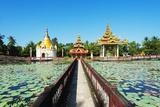 South East Asia, Myanmar, Bago, Lakeside Pagodas Photographic Print by Christian Kober