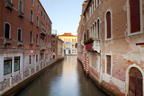 Italy, Veneto, Venice. Typical Venetian Palaces Leading to the Grand Canal. Fotodruck von Ken Scicluna