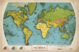 Retro World Map Giclée-tryk af  The Vintage Collection