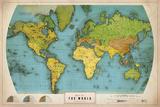 Retro World Map Giclée-Druck von  The Vintage Collection