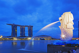 South East Asia, Singapore, Merlion and Marina Bay Sands Photographic Print by Christian Kober
