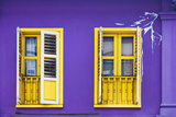 Colourful Purple Painted House and Yellow Window Detail on Tanjong Pagar Road, Singapore. Photographic Print by Cahir Davitt
